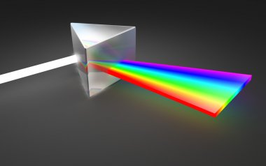 Prism light spectrum dispersion. On dark background