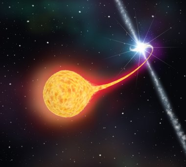 Star absorption by a black hole ( pulsar ). 3D illustration