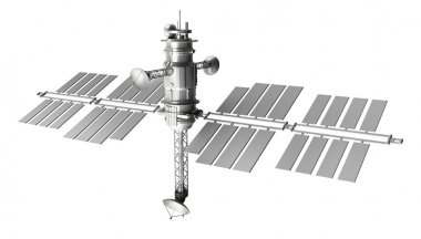 Space satellite wire concept. isolated on white
