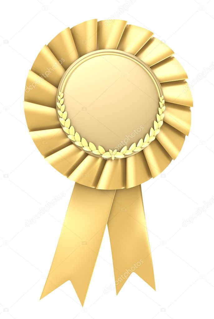 gold ribbon award blank with copy space isolated stock photo