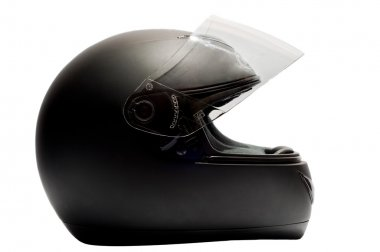 Black motorcycle helmet isolated white background