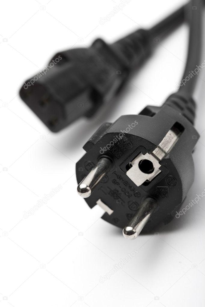 Strom kabel stecker steckdose stromsteckerleiste stromkabel — Stock ...