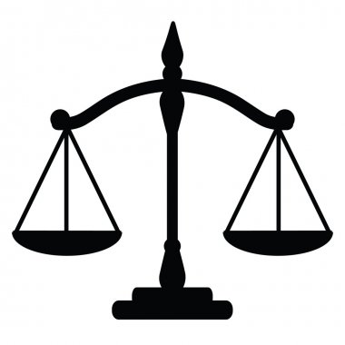 Vector illustration of justice scales stock vector