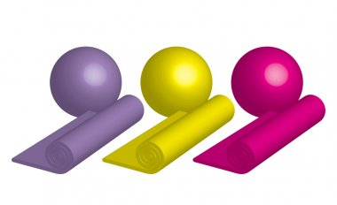 Vector illustration of yoga mats and balls
