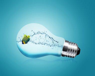 Anglefish jumping into light bulb