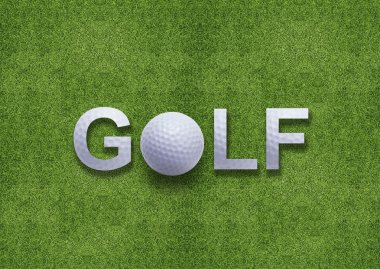 Golf word created from golf ball