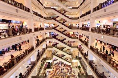 Big shopping mall with many floors in Kuala Lumpur stock vector