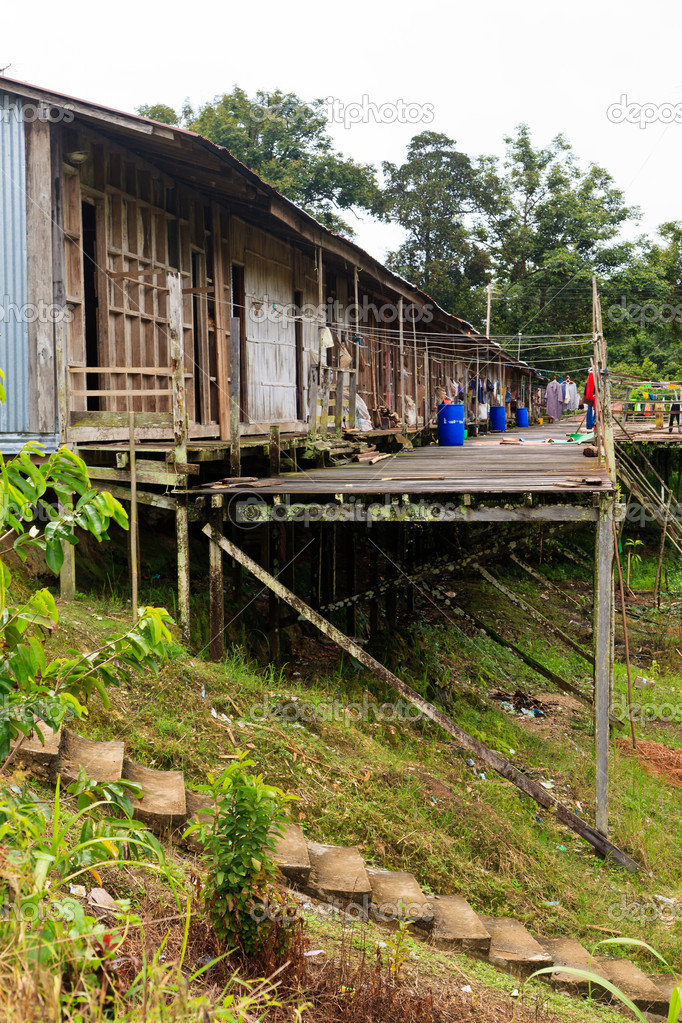 Long house of the Iban tribe — Stock Photo © pwollinga #7753931
