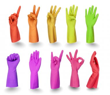 Colorful gloves signs isolated on white