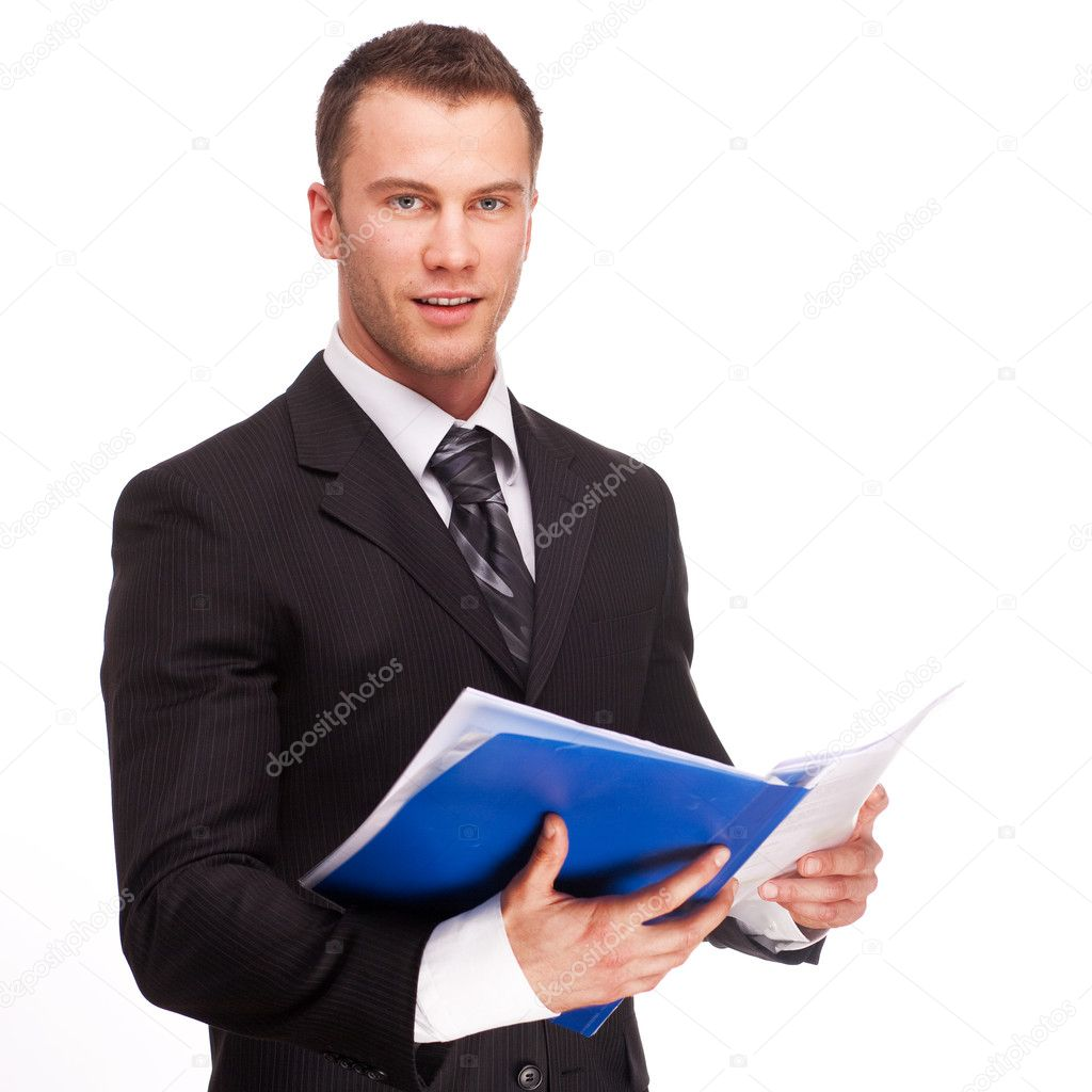 Studio shot of a business man on white background