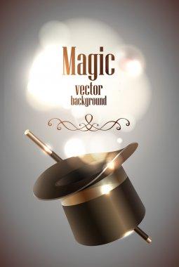 Magic hat and magic stick stock vector