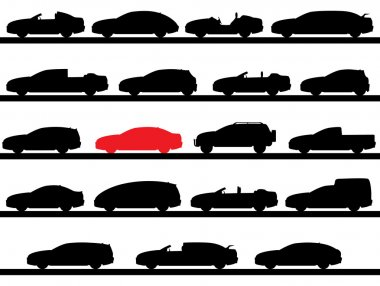 Silhouettes of cars