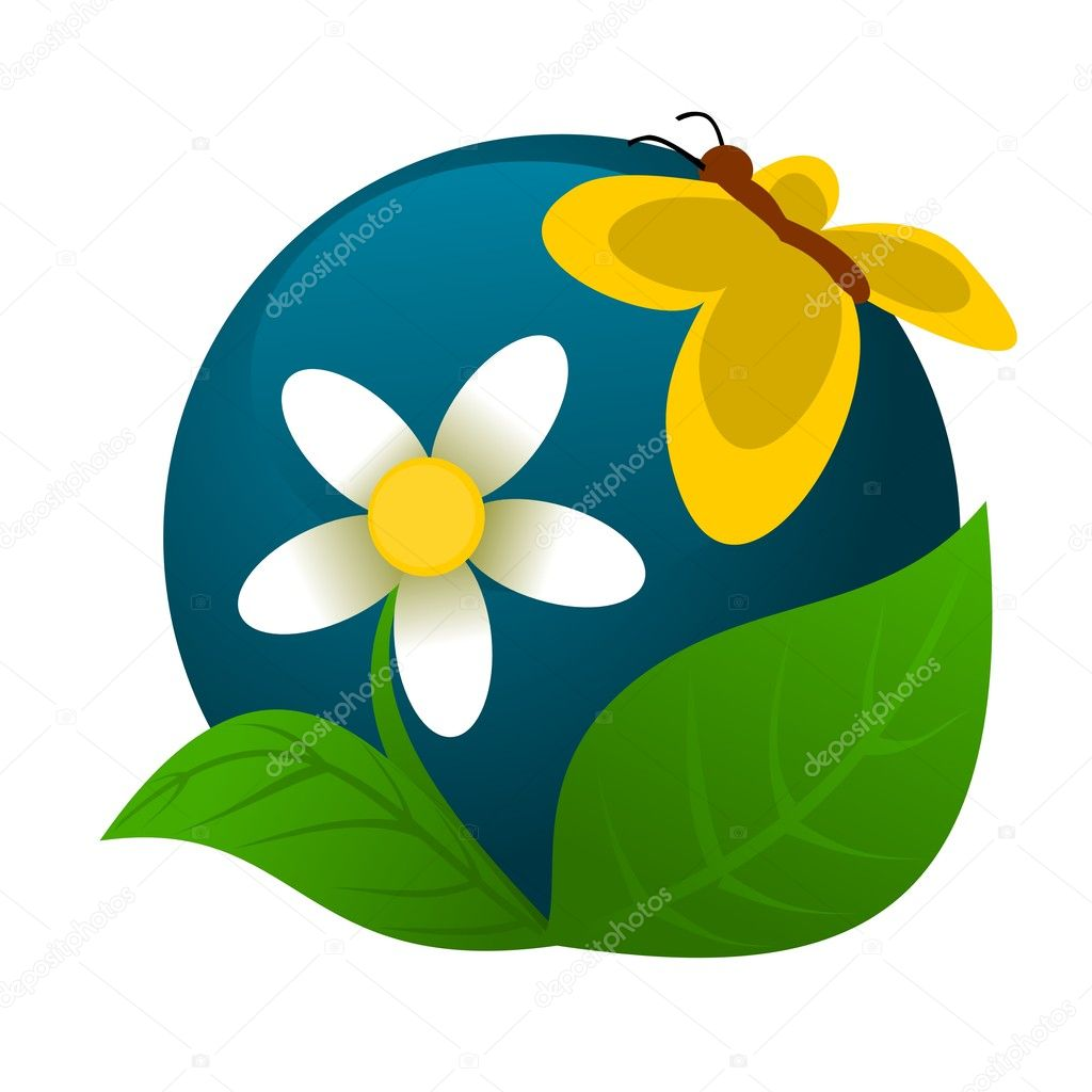 Chamomile and butterfly logo