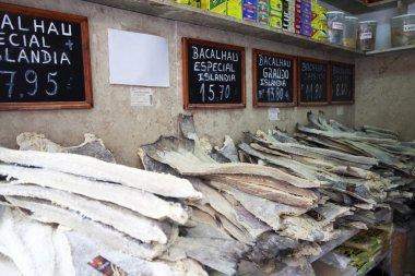 Bacalhau, Portugese fish in a shop in Lisbon