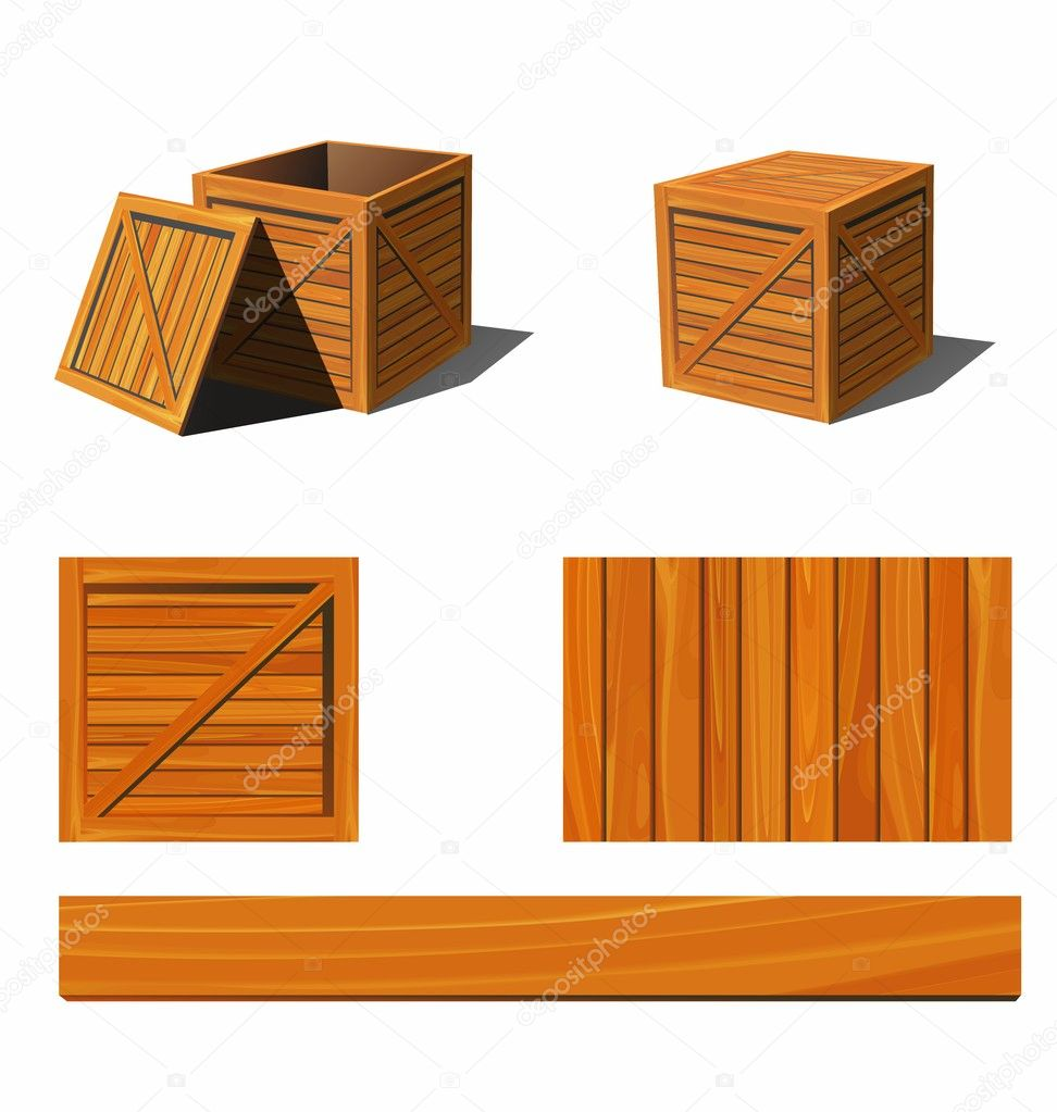 wooden box clipart. open and closed wooden box textures u2014 vector by rhilch clipart