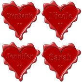 Photo Valentine love hearts with names: Stephanie, Nicole, Jennifer, S