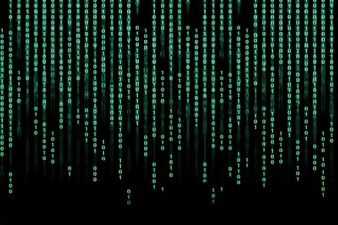 Green digital binary code background - matrix technology future