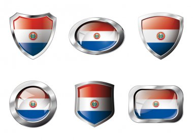 Paraguay set shiny buttons and shields of flag with metal frame