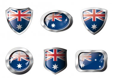 Australia set shiny buttons and shields of flag with metal frame
