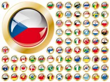 Shiny button flags with golden frame collection - vector illust