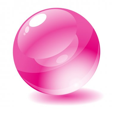 Vector illustration. Pink glossy circle web button.