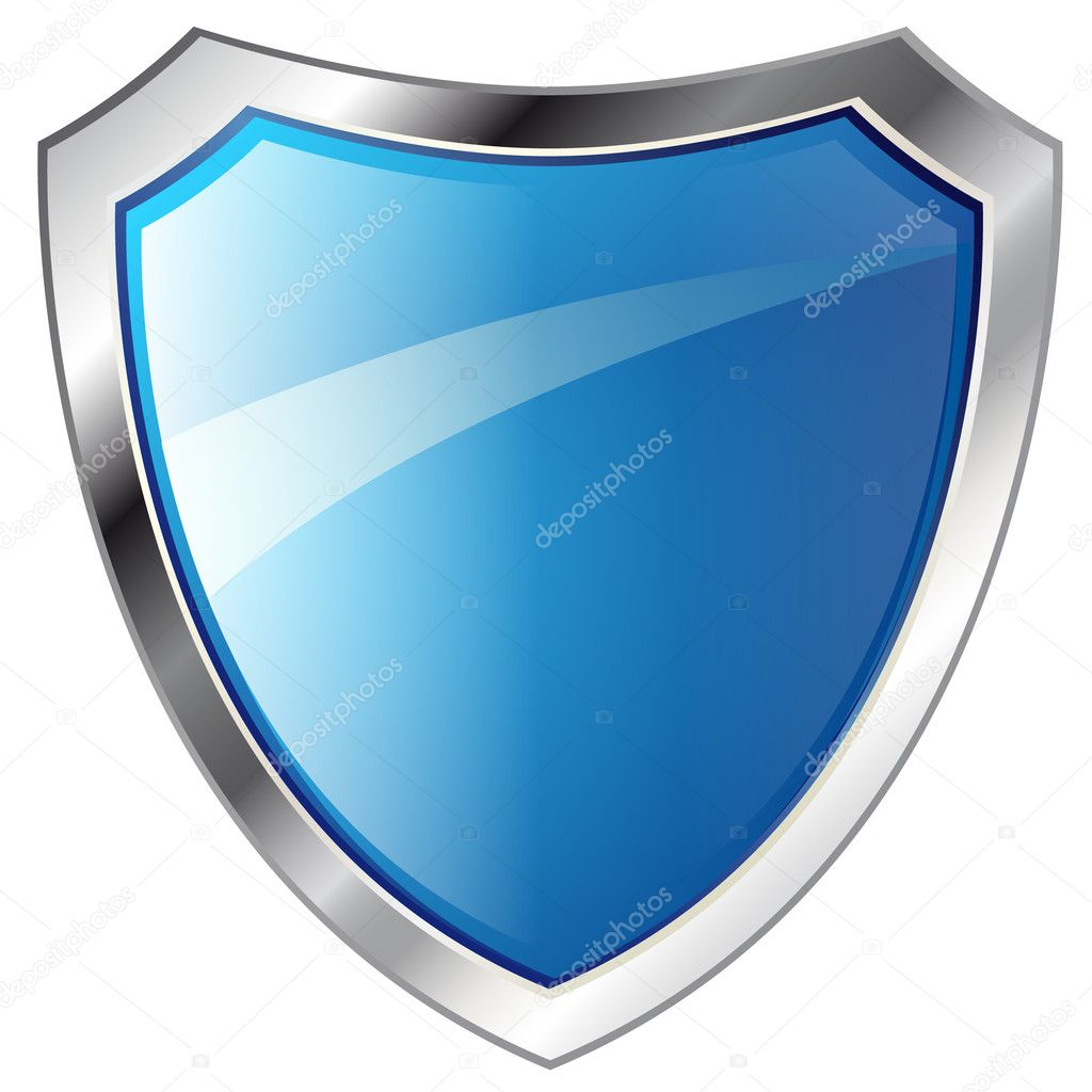 Vector illustration - abstract blue shiny metal shield - isolate
