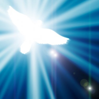 Glowing dove on a blue background