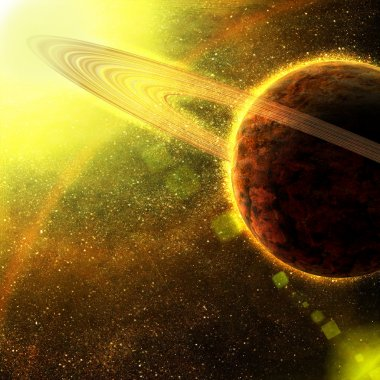 Planet with asteroid rings in space
