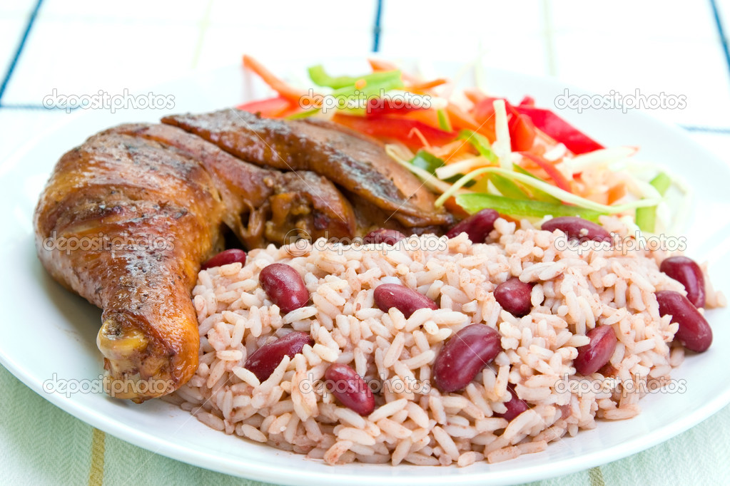 Jerk chicken with rice caribbean style stock photo for Cuisine haitienne