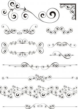Set of calligraphic ornaments in vector format very easy to edit, individual objects clip art vector