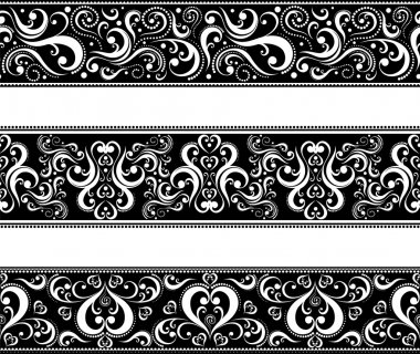 Set of borders with scroll ornaments