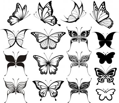 Set of butterflies silhouettes isolated on white background in vector format very easy to edit, individual objects clip art vector