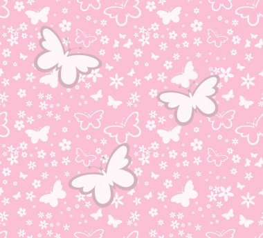 Butterflies silhouettes seamless pattern on pink background