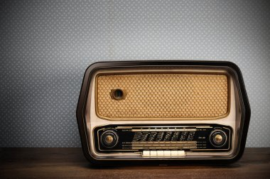 Antique radio on vintage background stock vector
