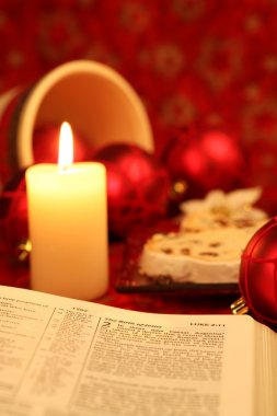 Bible and Christmas stollen