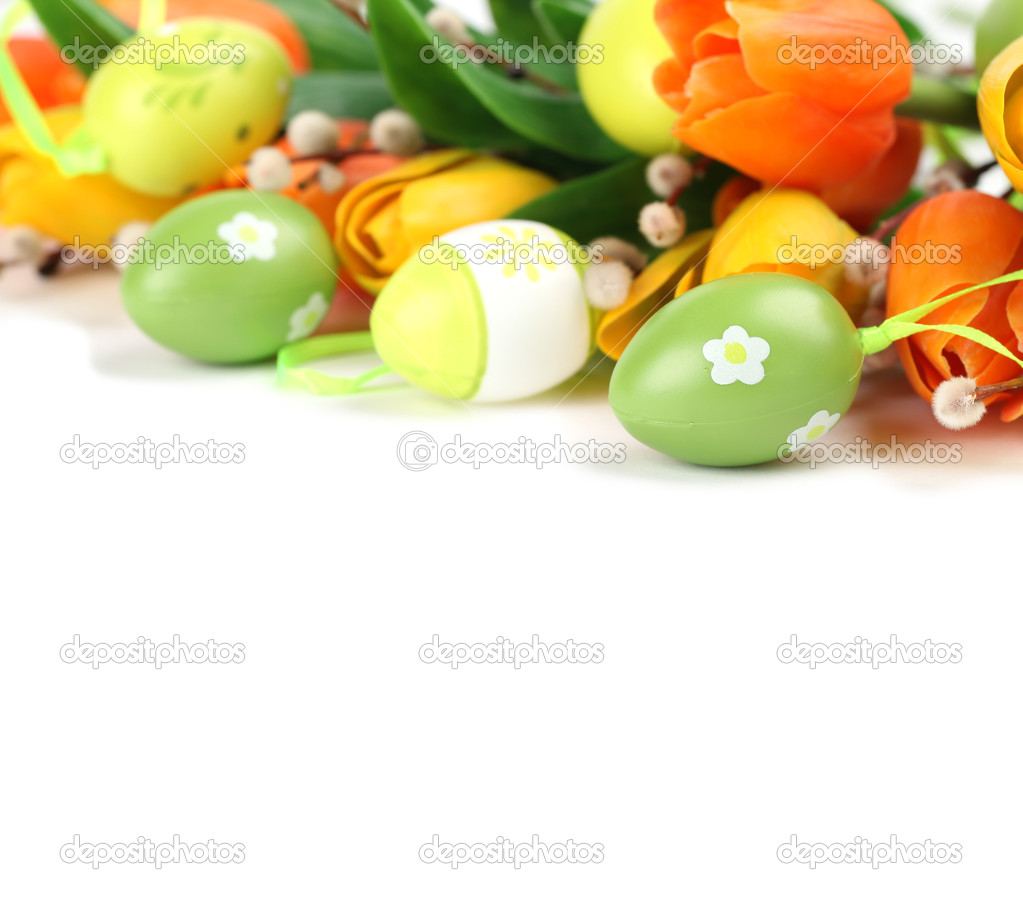 Green Easter eggs and tulips border