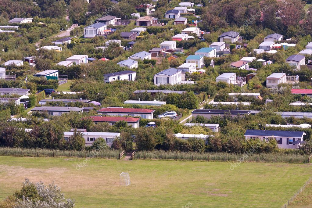 Aerial View Of A Bungalow Park At Ameland The Netherlands Stock