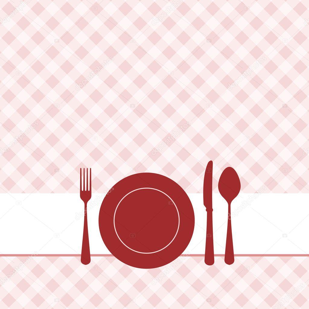 Invitación Almuerzo Con Patrón De Fondo Archivo Imágenes