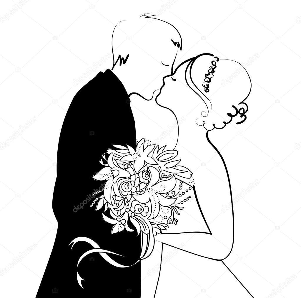Matrimonio In Bianco E Nero : Sfondo di matrimonio in bianco e nero — vettoriali stock