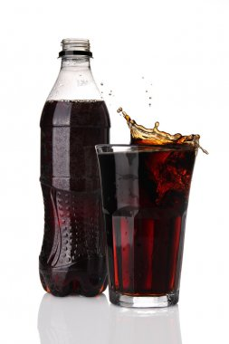 Bottle and glass of cola with splash