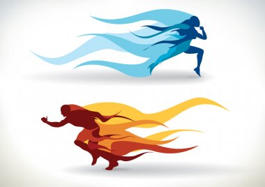 Female and male silhouette running in flames stock vector