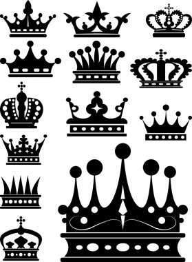 Crown. Set of isolated symbols