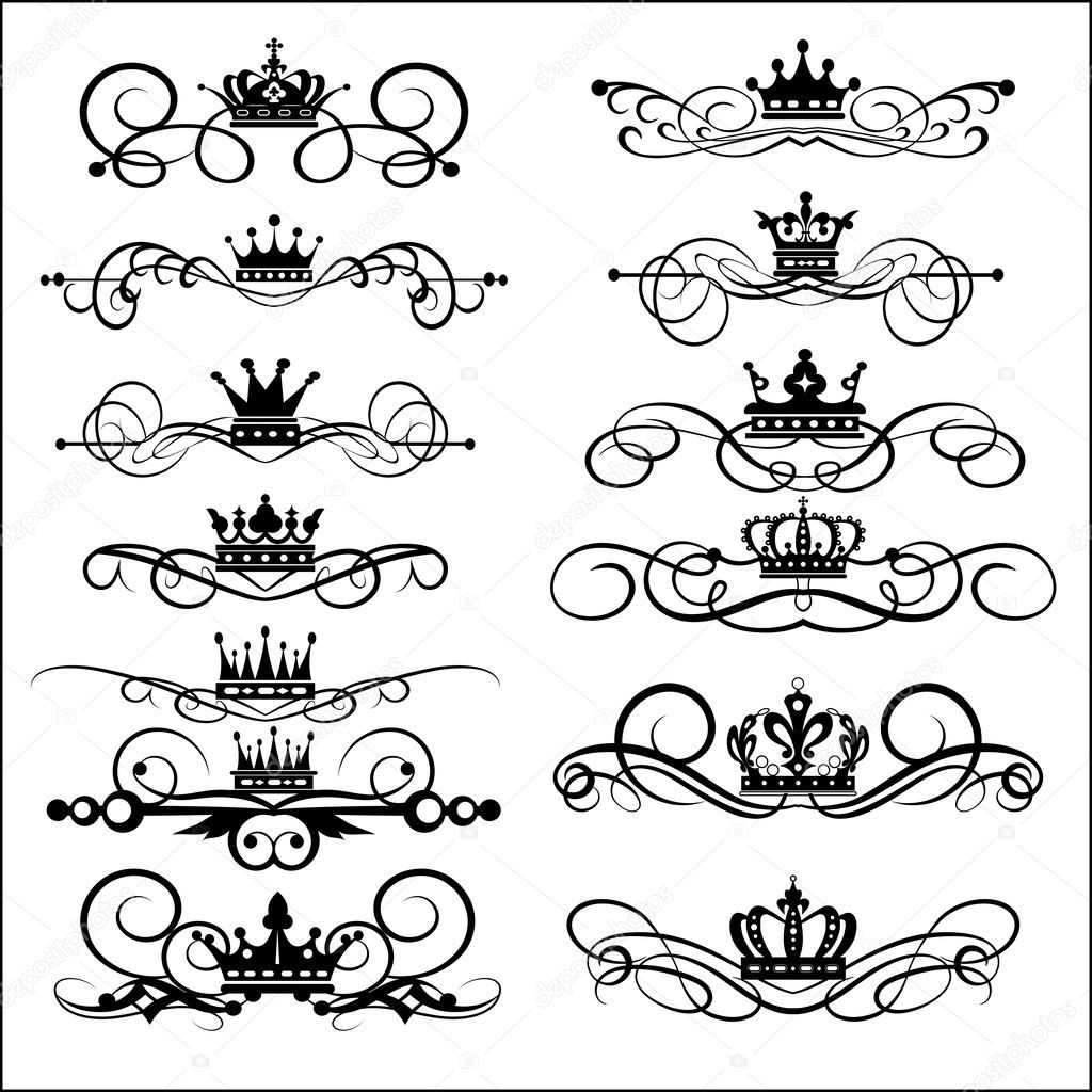Victorian Design Elements victorian scrolls and crown. decorative elements. vintage — stock