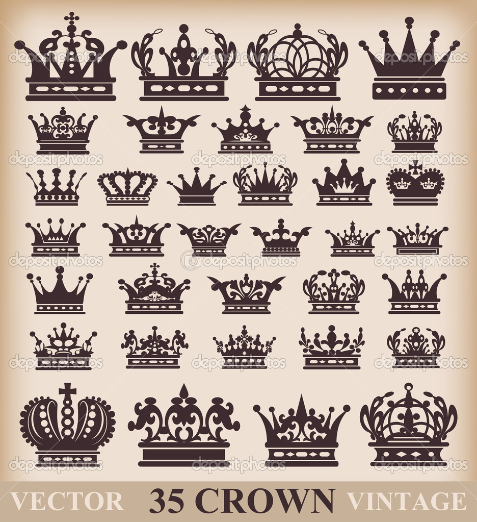 Crown. Vector set. Collection icons