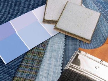 Meduim blue interior decoration plan