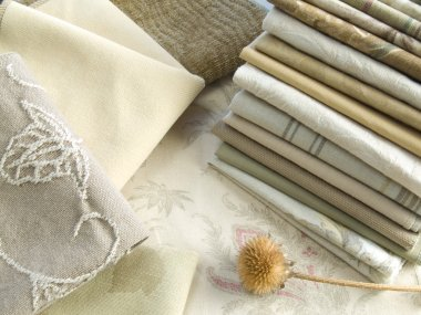 Neutral tan fabric swatches