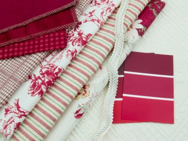 Red & white fabric and paint swatches
