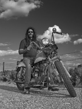 Biker in black and white