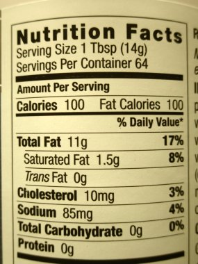 High fat content food label