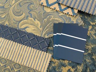 Blue and gold interior design plan